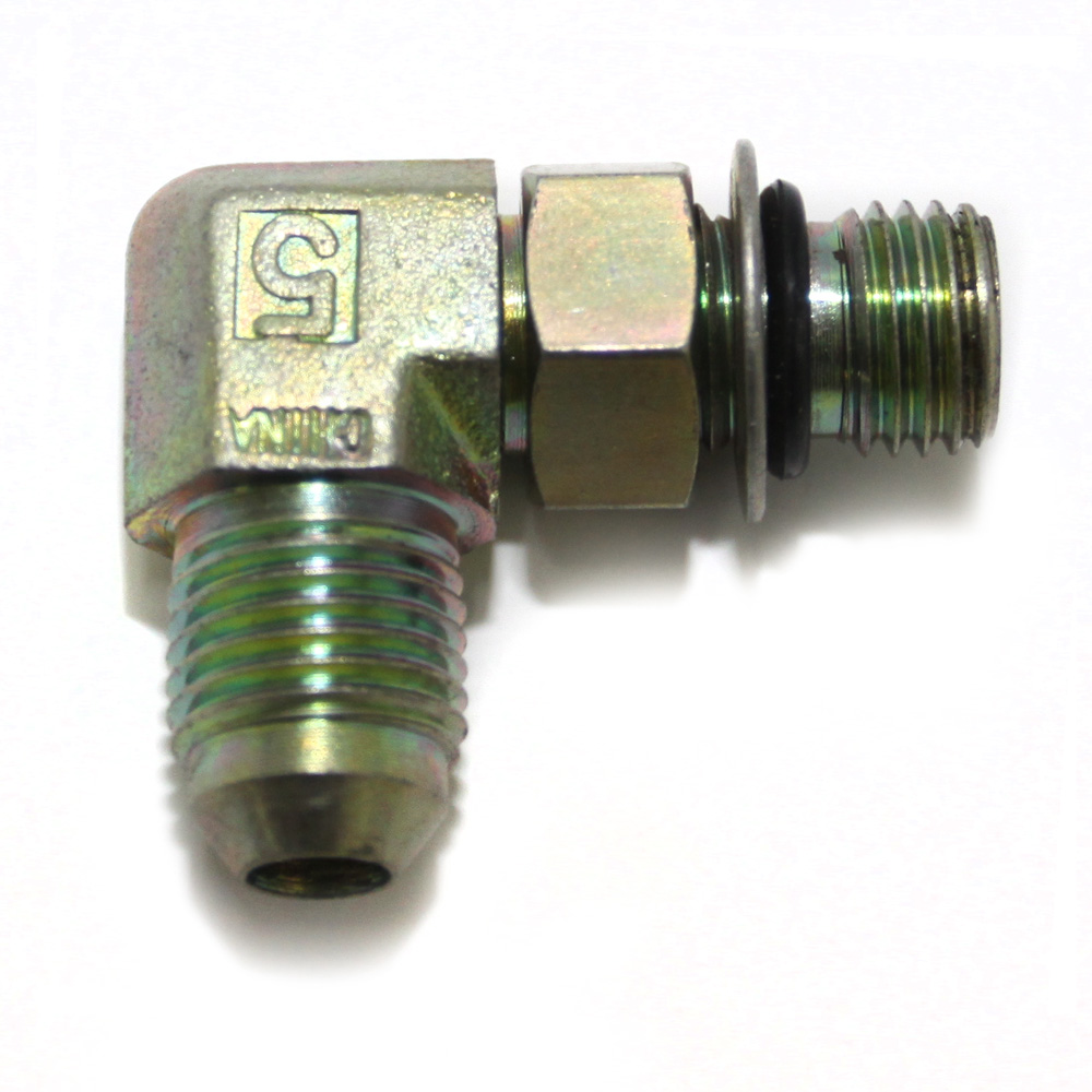 Fittings, Pipe and Hose: Elbow, 90 (7/16-20 ORB X -5 MJIC) Steel, Gold Zinc, Hi Flow