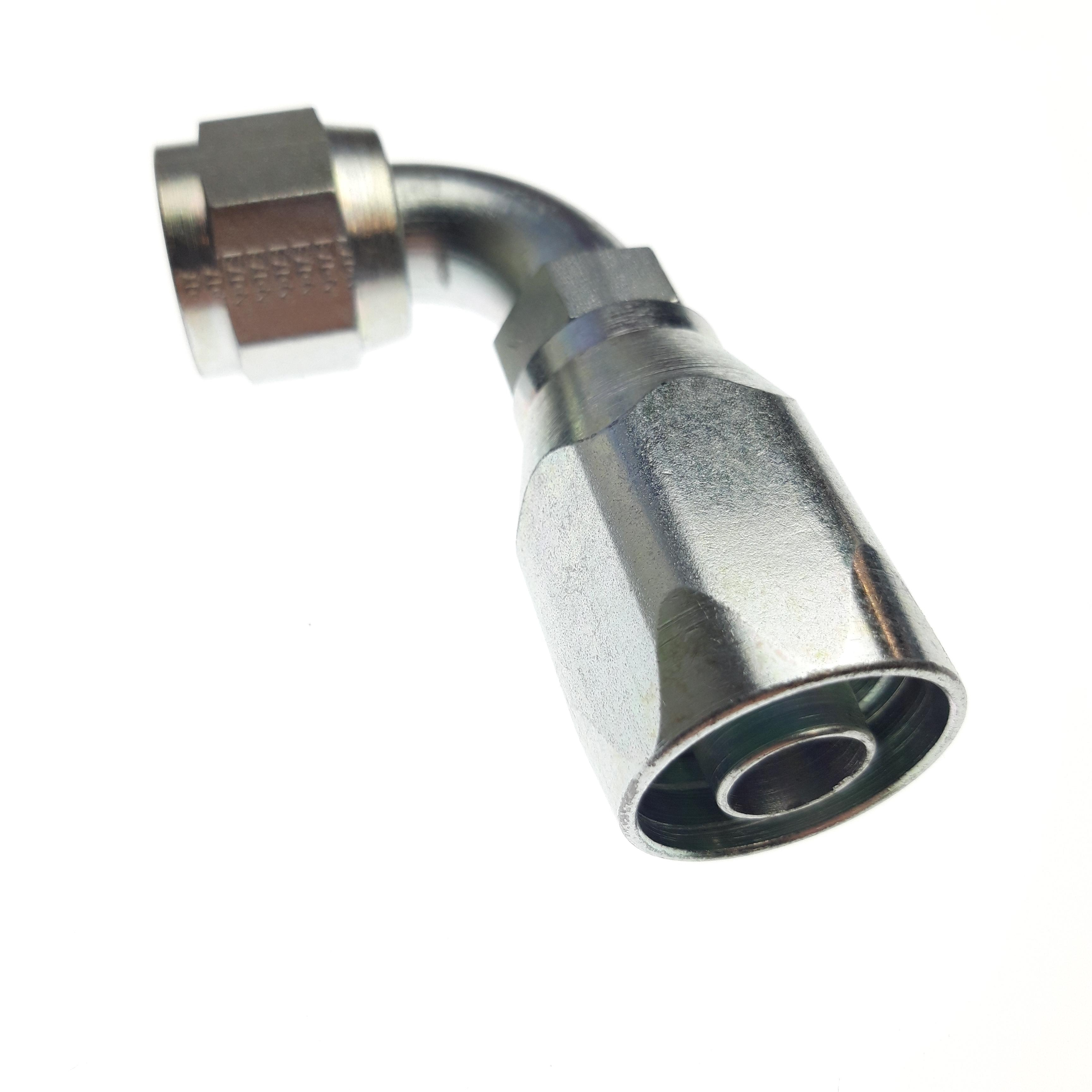 Fittings, Pipe and Hose: (T) Reusable Hose Fitting (-10 FJIC Swivel, 90°)
