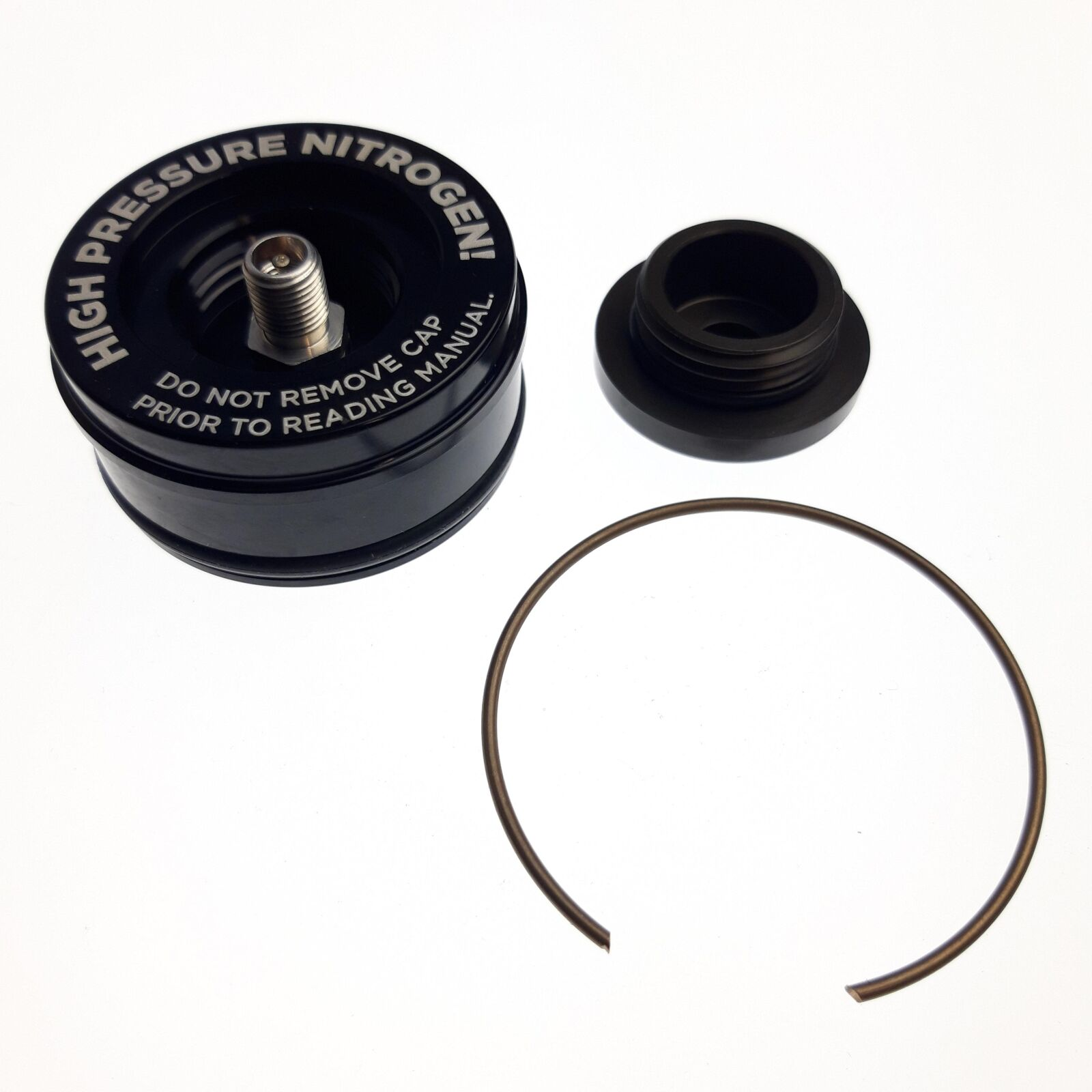 Reservoir End Cap Assembly:(1.834 Bora)Al6061, Black Ano II, Laser Etch Warning, Threaded