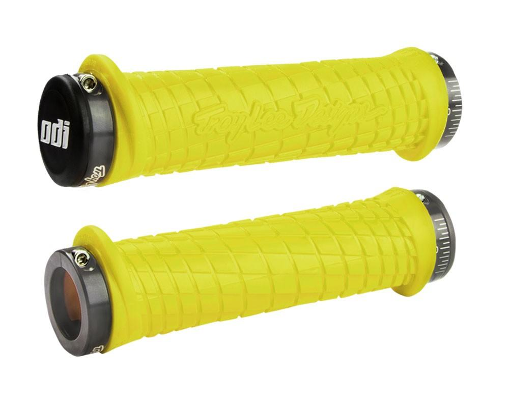 ODI GRIPS Troy Lee Designs Signature ATV Lock-On Bonus Pack Yellow w/Gray Clamps