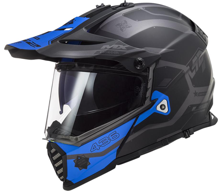 LS2 MX436 PIONEER EVO COBRA MATT BLACK BLUE XXS